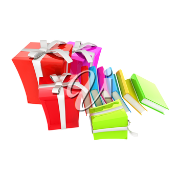 Gifts and books. 3d illustration