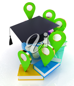 Books around the Earth and pointer. Education and navigation concept. 3d render