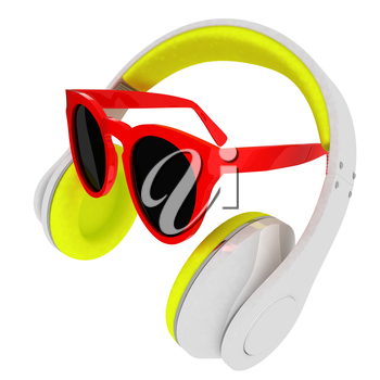 Sunglasses and headphone for your face. 3d illustration