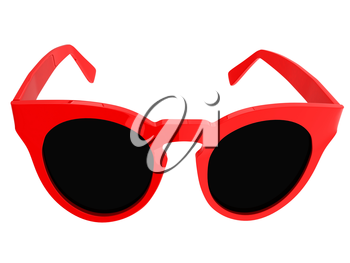 Cool red sunglasses. 3d illustration