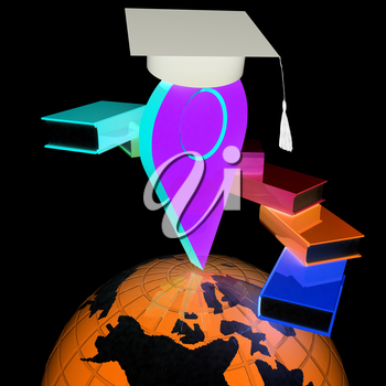 Pointer of education in graduation hat with books around and Earth. 3d illustration