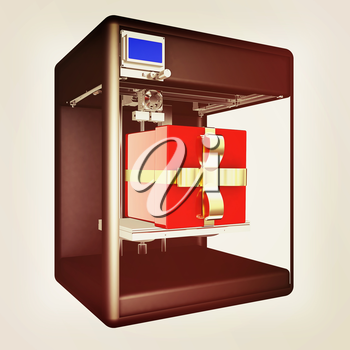 3d printer - gift. Modern technologies. Creating products of the innovative materials. 3d illustration. Vintage style