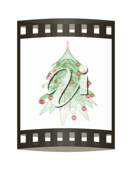 Christmas tree concept. 3d illustration. The film strip.