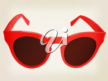 Cool red sunglasses. 3d illustration. Vintage style