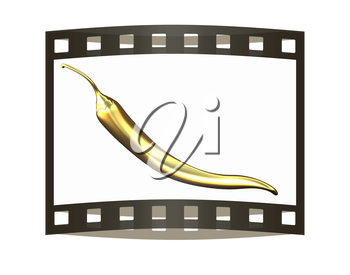 Gold Hot Pepper Icon. 3d illustration. The film strip.