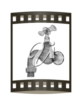 Water tap. 3d illustration. The film strip.