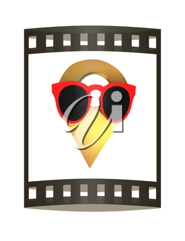 Glamour map pointer in sunglasses. 3d illustration. The film strip.