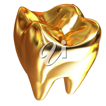 Gold tooth. 3d illustration