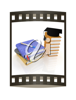 Education concept with leather books, notebooks and graduation hat from above. 3d render. Film strip.