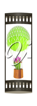 Hot Air Balloon and tulips in a basket. 3d render