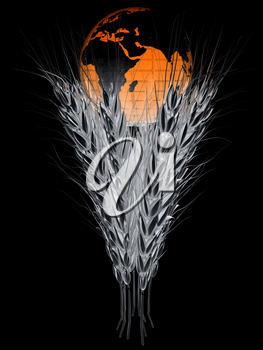 Metal ears of wheat and Earth. Symbol that depicts prosperity, wealth and abundance. 3d render. On a black background.
