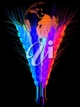 Colorfull ears of wheat and Earth. Symbol that depicts prosperity, wealth and abundance.. On a black background.