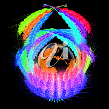 A colorful basket of wheat for Easter or Thanksgiving. Global concept with the earth ball inside. 3d render. On a black background.