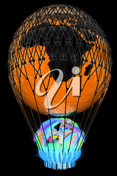 Hot Air Balloon of Earth with a basket of multicolored wheat and Easter eggs inside. 3d render. On a black background.