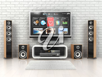Home cinemar system. TV,  oudspeakers, player and receiver  in the room. 3d