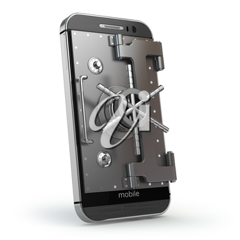 Mobile security concept. Smartphone or cellphone with vault or safe door.3d