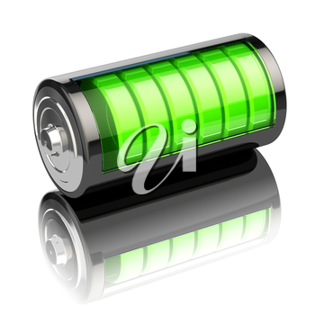 Battery charge level indicators isolated on white. Charging. 3d