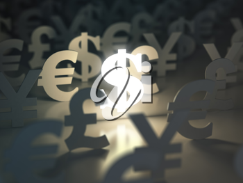 Dollar, euro, pound and yen signs. �urrency exchange concept. 3d