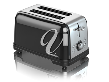 Toaster. Kitchen appliance, equipment isolated on white. 3d