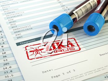 Zika virus diagnosis. Blood test sample with  Zika virus stamp, 3d illustration