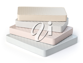 Mattress isolated on white background. Stack of orthopedic mattresses of different colors and sizes. 3d illustration