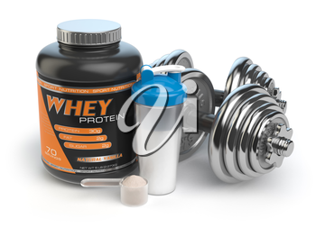Sports bodybuilding  supplements or nutrition. Fitness or healthy lifestyle concept. Whey protein with dumbbells and shaker.  3d illustration