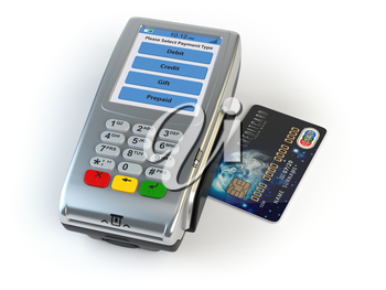 POS terminal with credit card isolated on white. 3d illustration