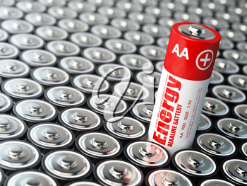 Battery  energy concept. Background from battaries. 3d illustration