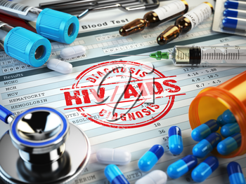 HIV AIDS diagnosis. Stamp, stethoscope, syringe, blood test and pills on the clipboard with medical report. 3d illustration