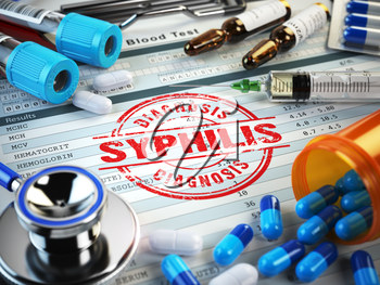 Syphilis diagnosis. Stamp, stethoscope, syringe, blood test and pills on the clipboard with medical report. 3d illustration