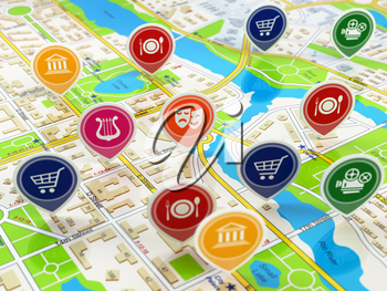 City map and pins with icons. Concept of navigation or gps. 3d illustration