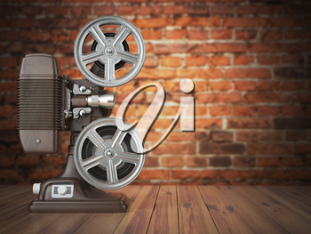 Vintage projector on the bricks background. Cinema, movie or video concept.  3d illustration