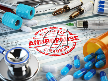 Andropause. Stamp, stethoscope, syringe, blood test and pills on the clipboard with medical report. 3d illustration