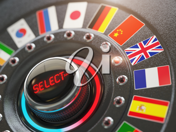 Online learning language or choice language on the web site concept. Online translator. Switch knob button with flags. 3d illustration