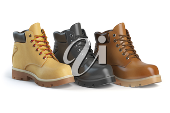 Different winter boots on a white background. Shoe shop or marketing concept. 3d illustration