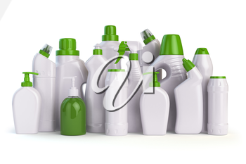 Natural green detergent bottles or containers. Cleaning supplies  isolated on white background. 3d illustration