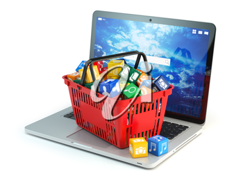 Laptop computer application software icons in the shopping basket  isolated on white background. Store of apps concept. 3d illustration