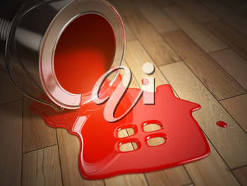 House renovation construction concept. Can with spilled red paint and house symbol.  Paint your home. 3d illustration