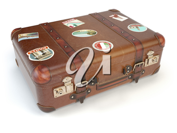 Retro suitcase beggage with travel stickers isolated on white background. 3d illustration