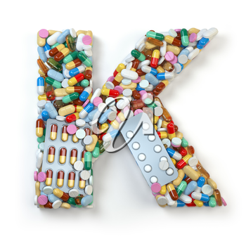Letter K. Set of alphabet of medicine pills, capsules, tablets and blisters isolated on white. 3d illustration