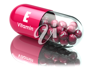 Vitamin E capsule or pill. Dietary supplements. 3d illustration