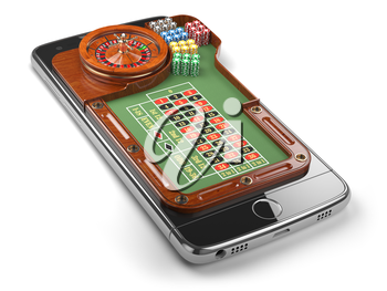 Mobile phone with roulette and casino chips  isolated on white background. Online casino concept. 3d illustration