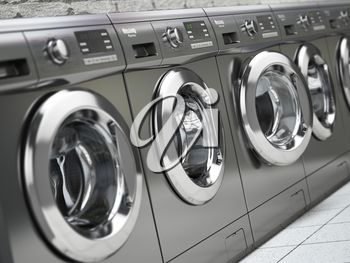 Row of washing machines in a public laundromat. 3d illustration