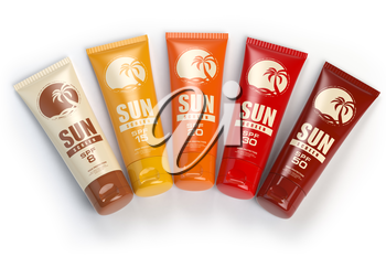 Sun screen cream,  oil and lotion containers with different spf. Sun protection and suntan cosmetics isolated on white background. 3d illustration