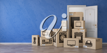 Household kitchen appliances and home electronics in cardboard boxes and open door. E-commerce, internet online shopping and delivery concept. 3d illustration