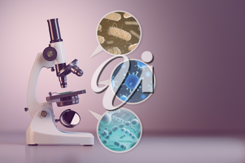Microscope and a set  of different bacterias and viruses. Space for text. 3d illustration.