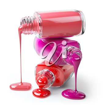 Nail polish of a different colors in stack spilled isolated on white background. 3d illustration