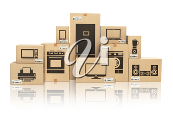 E-commerce, internet online shopping and delivery concept. Household kitchen appliances and home technics in boxes isolated on white. 3d illustration