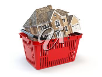 Houses is in a shopping basket. real estate market concept. 3d illusration
