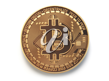 Golden bitcoin coin virtual currency isolated on white background. 3d illustration